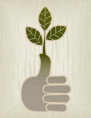 Gestileerde groene duim/Thumbs Up Concept Icon; Easy-edit gelaagd bestand.