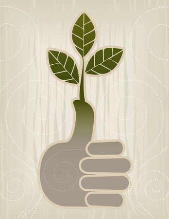 Stylized Green ThumbThumbs Up Concept Icon; Easy-edit layered file. Illustration