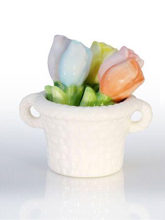Spring Ceramic Tulip Chopstick Rests Isolated