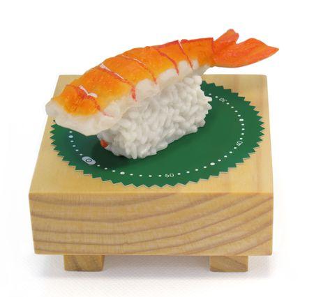Sushi time! Novelty kitchen timer: Ebi Shushi; Isolated