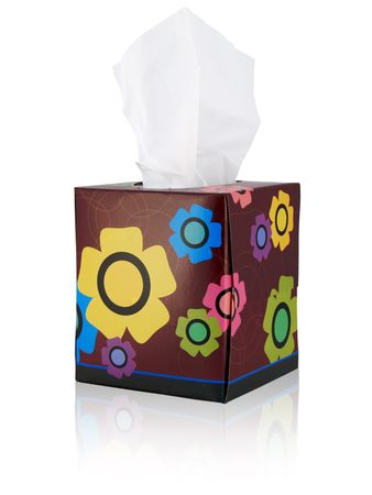 Tissue box with flowers; isolated with reflection