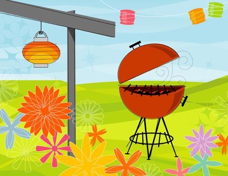 Retro-gestileerde zomer barbecue party. Items zijn geheel en gegroepeerd, zodat u ze kunt gebruiken onafhankelijk van de achtergrond. Gelaagde bestand voor eenvoudige bewerking - geen transparanten of slagen!