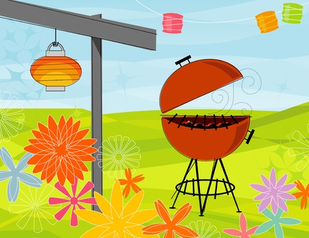 back yard: Retro-stylized summer barbeque party. Items are whole and grouped so you can use them independently from the background. Layered file for easy edit--no transparencies or strokes!