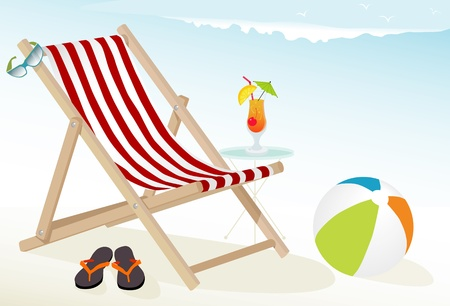 Fun at the beach Icons: tropical cocktail, deck chair, sunglasses, beach ball and flip-flops; Easy-edit layered file.