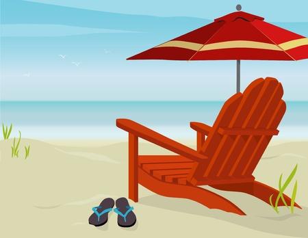 Adirondack Chair and Market Umbrella at beach; Easy-edit layered file. Stock Vector - 9800995