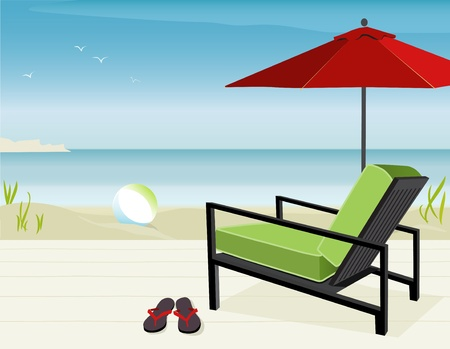 Modern Chair and Market Umbrella at beach; Easy-edit layered file.   Vector
