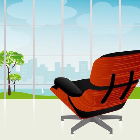 도시와 공원의 아름다운 전망을 갖춘 레트로 모던 한 라운지 의자. 각 항목은 그룹화되어 있으므로 개별적으로 사용할 수 있습니다.
