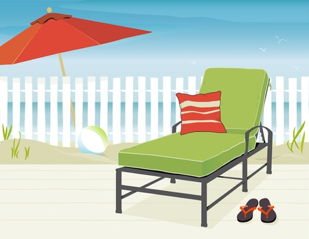 Chaise Lounge and Market Umbrella at beach; Easy-edit layered file.   Stock Vector - 9801001