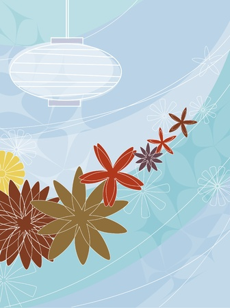 Stylized and colorful image of flowers and paper lantern.  Items grouped so you can use them independently from the background. Layered file for easy edit.  イラスト・ベクター素材