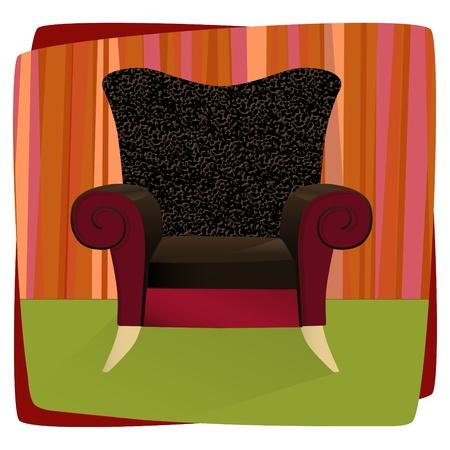 Skurril bequem gepolsterten Stuhl mit Leopardenmuster Samt. Vorsitzende kann ohne Hintergrund verwendet werden.