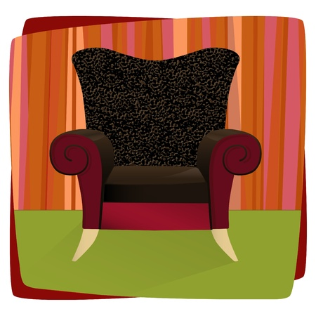 vintage furniture: Whimsical comfy overstuffed chair with leopard print velvet. Chair can be used without background.