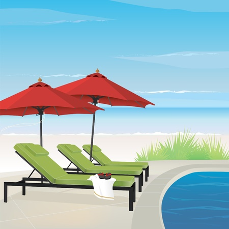 Relaxing resort on tranquil beach with pool, lounge chairs and umbrellas. Easy-edit layered file. Stock Vector - 9801010
