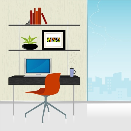 Modern home office—red deskchair with desk and city view; colorful, stylized. Elements grouped so you can use them independently from background. Easy-edit layered file. Vector
