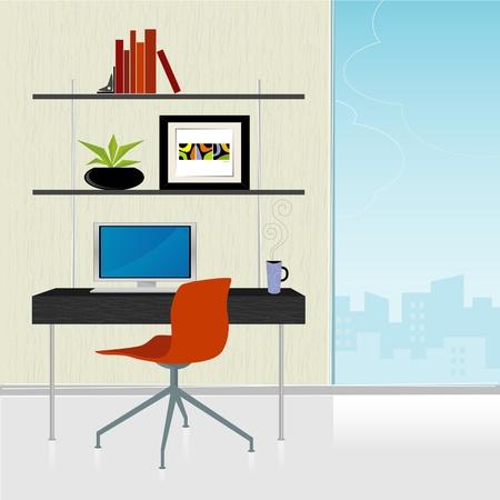 Moderne kantoor aan huis — rode deskchair met Bureau en stad uitzicht; kleurrijke, gestileerde. Elementen die zijn gegroepeerd zodat u hen onafhankelijk van de achtergrond kunt. Eenvoudig bewerken gelaagd bestand.
