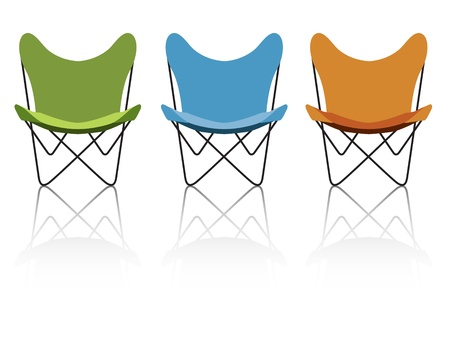 Trio of vintage/retro butterfly chairs with reflection; easy-edit file makes changing the chair colors simple. Stock Vector - 9800991