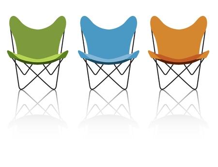 Trio van vintage  retro vlinder stoelen met reflectie, eenvoudig-edit bestand maakt het wisselen van de stoel kleuren eenvoudig.