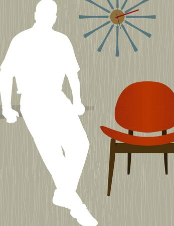 Man leaning in front of modern chair and wall clock,  white silhouette. Chair and wall clock are whole so you can move them around. Illustration