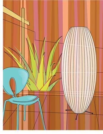 현대 가정 아트리움에서의 자, 램프 및 알로에 베라의 현대, 다채로운 양식에 일치시키는 모티브. 각 항목은 배경과 독립적으로 사용할 수 있도록 그룹 일러스트
