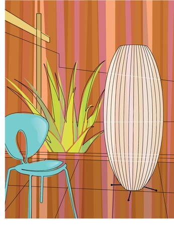 Modern, colorful stylized motif of chair, lamp and aloe vera in a modern home atrium. Each item is grouped so you can use them independently from the background.  Vector