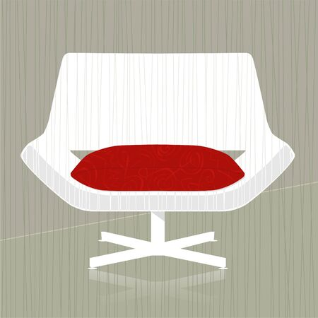 Stylish vintage/retro chair design element; easy-edit layered file makes changing the chair color simple.  イラスト・ベクター素材