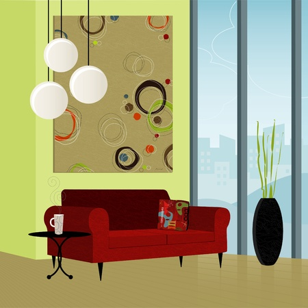 Modern living room; colorful and stylized. Each item is grouped so you can use them independently from the background. Easy-edit layered file. Vector
