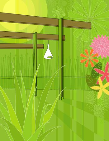 Modern, colorful stylized illustration of an outdoor patio garden with an aloe vera in the foreground. Each plant and flower is whole and grouped so you can use them independently from the background.