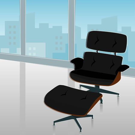 Retro-modern lounge chair with beautiful view of the city.  Vector