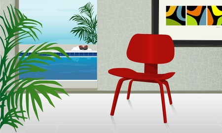 Retro-stylized home with view of swimming pool. Mid-century modern chair; Easy-edit layered file. Illustration