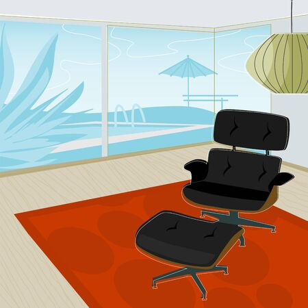 red rug: Retro-stylized modern lounge chair with view of swimming pool. Each item is grouped so you can use them independently from the background. Illustration