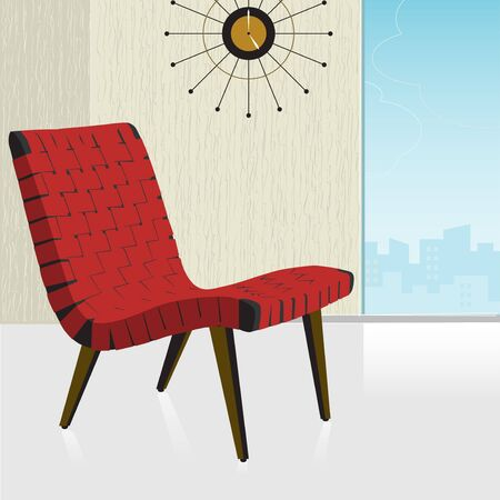 Vintageretro red chair with a stylish background; easy-edit layered file makes changing the chair color simple.  Illustration