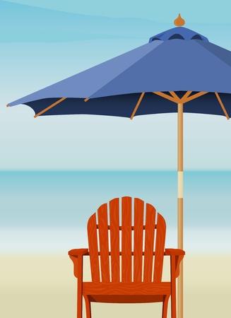 Adirondack stoel en markt paraplu op strand, stoel en paraplu zijn voltooid.