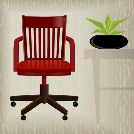 Vintageretro red office chair with a stylish background; easy-edit layered file makes changing the chair color simple. Illustration