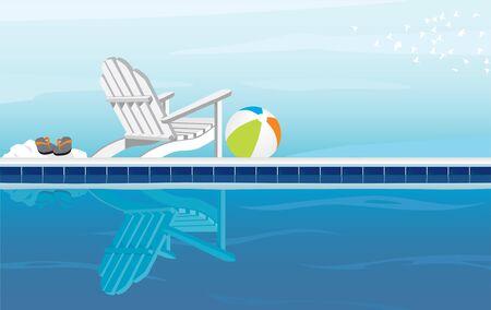 silla playa: Relajante piscina y silla Adirondack; Con Flip Flops, pelota de playa y una bandada de aves