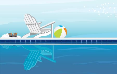 Relaxing swimming pool and Adirondack Chair; With Flip Flops, beach ball and a flock of birds Stock Vector - 9800999