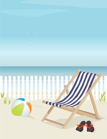Mooi ligstoel op het strand, compleet met strandbal en flip-flops; Eenvoudig bewerken gelaagd bestand. Veel kopiëren ruimte.