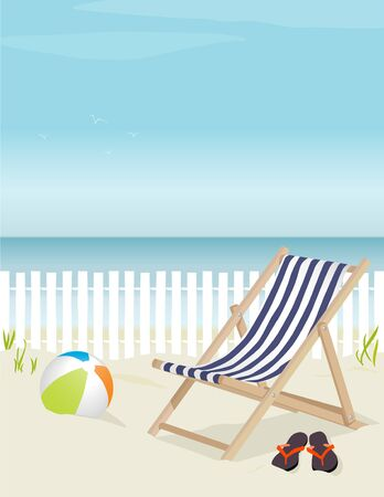 Nice deck chair at the beach, complete with beach ball and flip-flops; Easy-edit layered file. Lots of copy space. Vector