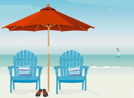 Adirondack Chairs at Beach  Relaxing scene on a breezy day at the beach Vector