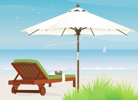 Ontspannende scène op een winderige dag op het strand, de chaise longue en de marktparasol Stock Illustratie