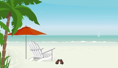 Silla de cubierta en una playa tropical con chanclas--velero en distancia; Fácil editar archivo con capas. Gran cantidad de espacio de copia. Ilustración de vector