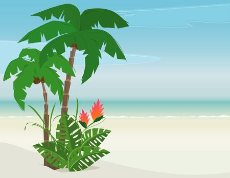 Tropical beach with palms and exotic flowers; Easy-edit layered file. Lots of copy space.  Vector