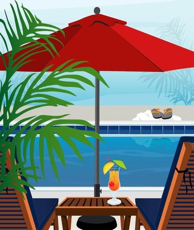 リラックスできるトロピカルなスイミング プール、chaise のラウンジ;層状ファイルの簡単な編集。  イラスト・ベクター素材