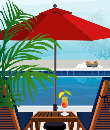 Relaxing tropical swimming pool and chaise lounges; Easy-edit layered file. Illustration