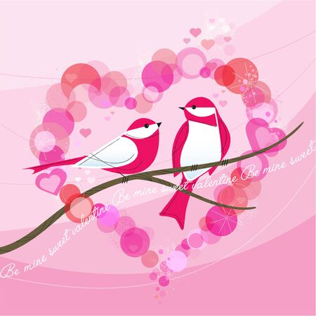 Retro Birds Valentine with Heart-shaped Bokeh Frame; With text Be mine sweet valentine! Inspired by mid-century modern illustration.