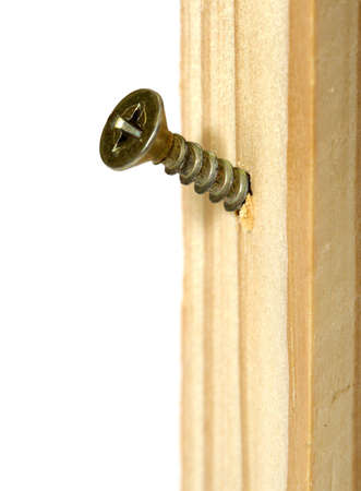 Flat head wood screw screwed in a board