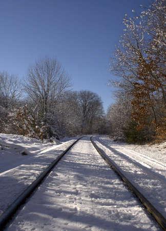 wood railroads: Rail road at winter time