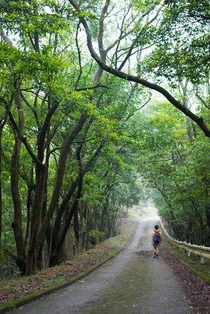raod: Woman walking on raod in forest, Hong Kong, China