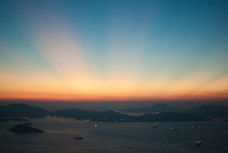 crepuscular: Crepuscular rays after sunset of Hong Kong, China