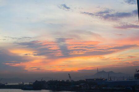 crepuscular: Crepuscular rays after sunset of Hong Kong China