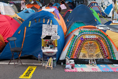 suffrage: Tents on street,  a street blocking demonstration in 2014, Admiralty, Hong Kong, China