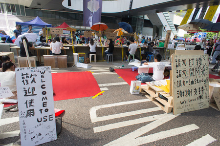 suffrage: Reading zone in blocked area, a street blocking demonstration in 2014, Admiralty, Hong Kong, China